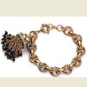 ❤️JCREW Crystal GoldRhinestone TasselDrop Bracelet